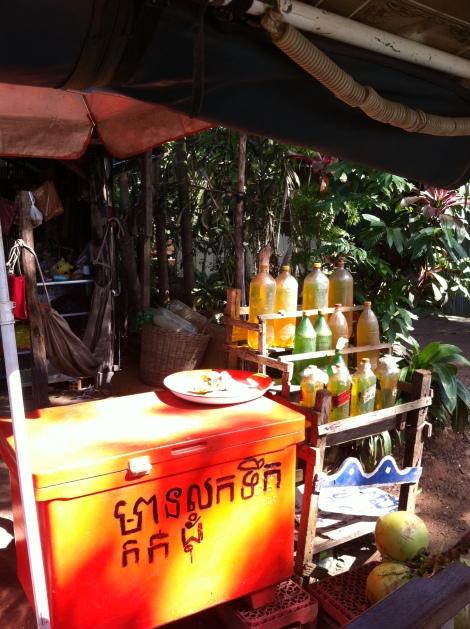 Posto de combustíl tipicamente cambojano ao longo das estradas.