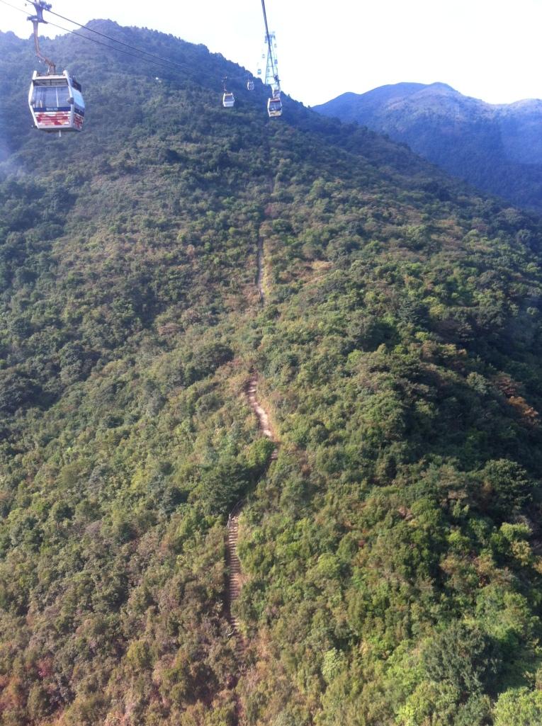 Caminho do teleférico com opções de trilhas por terra.